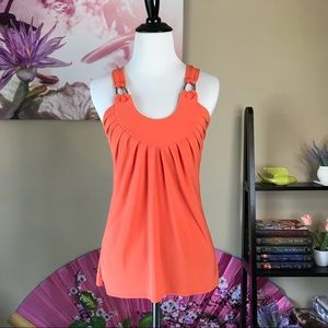 Tops - Orange Spaghetti Strap Dressy Top